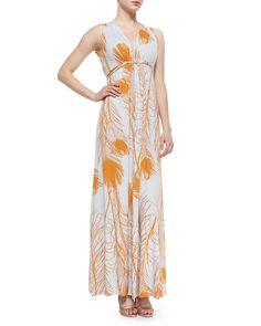Long Quill-Print Caftan Dress, Bellini Quill - Rachel Pally