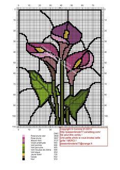 fleur - flower - vitrail - Point de croix - cross stitch - Blog : http://broderiemimie44.canalblog.com/