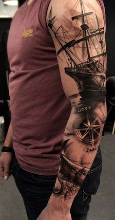 Realistic Sleeve tattoos ship and sea theme