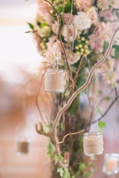 Burlap Wrapped Votive Candles on painted tree branches