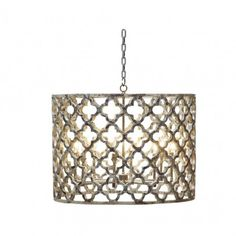 The La Jolla Chandelier boasts a lattice-patterned shade made of capiz shell. Excellent for elegant beach houses, or a refined coastal home. Illuminate your room with beauty and decadence.