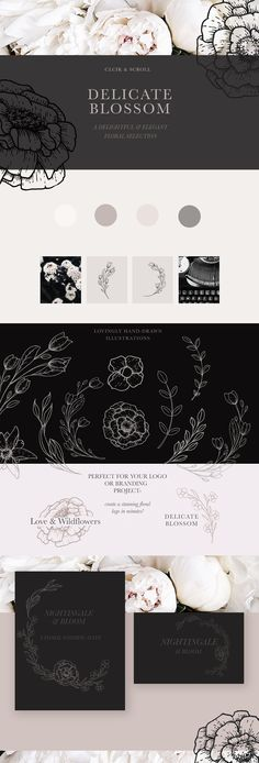 Modern Floral Illustrations &Texture Blossom clipart designs for personal and business use   ad