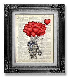 R2D2 with Red Hot Air Balloon :)   ......................................................................................   Buy 3, get 1 FREE !  After purchasing 3 prints - pick 1 freebie and leave the full name of the print in the *Note to GoGoBookart* Box during checkout :)   ......................................................................................   This is an ORIGINAL Artwork of one-of-a-kind Vintage Dictionary Art Print, that would make a great addition to any wall of any…