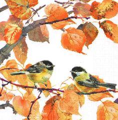 Paper Napkins Set of 4 AUTUMN BIRDS 33cm Lunch by LanternsByTamara