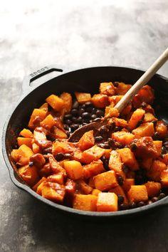 Smoky Black Bean Butternut Squash Enchiladas from scratch in just 10 ingredients! #vegan #glutenfree #plantbased #recipe #dinner #healthy