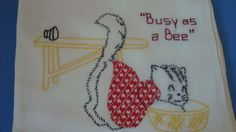 Vintage Applique Anthro Kitten Towel Busy as a Bee
