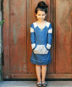 Look at this Teal Lace Sweatshirt Dress - Girls on #zulily today!