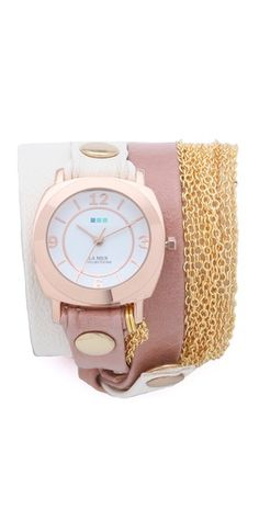 la mer wrap watch...pink, white, gold.
