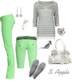 """Grey and Green"" by sapple324 on Polyvore"