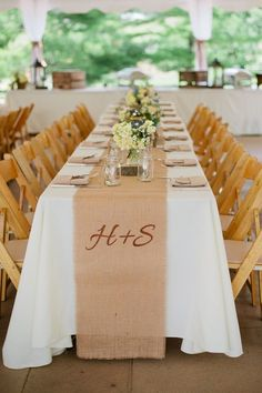 Summer beach wedding decor | Personalize the table runners with your initials for a nice customized ...