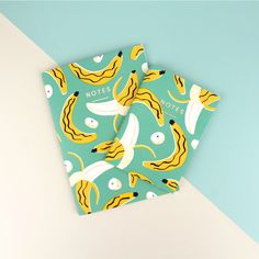 BANANAS! These super fun notebook designs feature artwork by Ruby Taylor and gold foiled 'Notes' detail. #banana #notebook #tropical