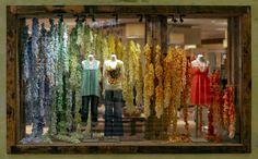 Anthropologie Spring Window Display - a spectrum of colors hand dyed and shredded fabric tied in lengths that fall to the floor