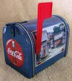 """VINTAGE COCA-COLA COLLECTIBLES--MAIL BOX CANDY TIN--4"""" TALL--99' DATE--NICE! #COCACOLA"""