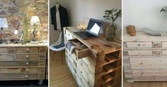 Ideas de cajoneras con palets prácticas y decorativas Carpentry, Office Desk, Corner Desk, Diy, Furniture, Love, Ideas, Home Decor, Beauty