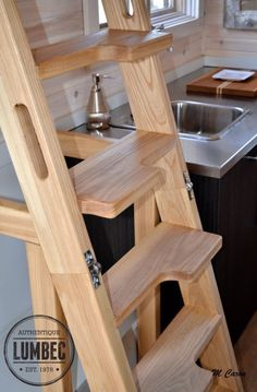 Micro Lumbec Tiny House on Wheels fold-able stairs love
