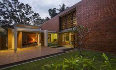 Modern House Design : Brick House / Architecture Paradigm via onreact Architecture Design, Indian Architecture, Residential Architecture, Skylight Glass, Terrace Floor, Architect Logo, Architect House, D House, Indian Homes