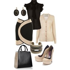 A fashion look from February 2013 featuring long sleeve tops, neck ties and short skirts. Browse and shop related looks.
