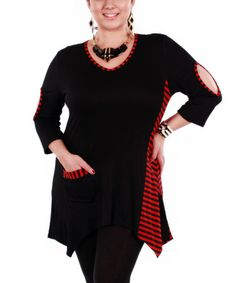 Another great find on #zulily! Red & Black Stripe Cutout Tunic - Plus by Aster #zulilyfinds