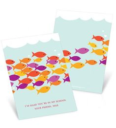 Valentine's Day Cards for Kids -- Sea of Love..Eva gave me this one! with 3 gummie fish in a cellophane wrapper(so sweet)