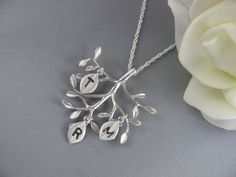Monogram Necklace  Personalized Family tree with Hand by MonyArt, $32.80