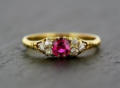 Antique Ruby Ring - Victorian 18ct Gold Ruby and Diamond Engagement Ring