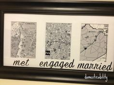 Framed maps for locations special in your relationship