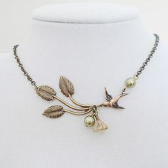 Bird Twig Statement Necklace, Choker, Lariat, Wedding Necklace, Pendant, Bridesmaid Necklace, Brass Twig Branch Sparrow