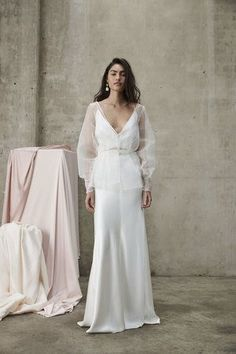 Designer Crush: Introducing Prea James Wedding Gowns at Lovely Bride We love Prea James' modern, relaxed design approach that also includes feminine details like pearls, floral embellishmen. Classic Wedding Dress, Romantic Wedding Gowns, Wedding Dress Separates, Bridal Separates, Stylish Gown, Dress Vestidos, Bridal Dresses, Marie, Ireland