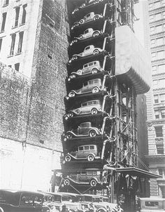 Image: Elevator car park (© FPG/Hulton Archive/Getty Image) Parallel parking. An elevator parking lot in early 1920s hoisted cars on individual platforms to save space.