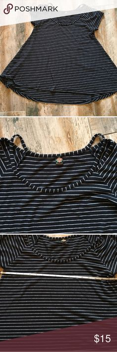 Poof black and white top Black and white stripe top. Wear with skinny  white or black jeans and it is so adorable. In GUC. Poof! Tops