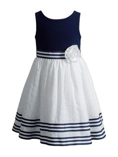 Sweet Heart Rose Navy & White Stripe A-Line Dress - Infant, Toddler & Girls Toddler Girl Dresses, Little Girl Dresses, Girls Dresses, Toddler Girls, Infant Toddler, Frocks For Girls, Kids Frocks, Frock Design, Special Occasion Dresses