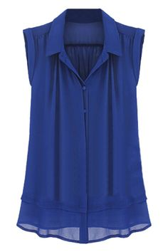 ROMWE | Asymmetric Blue Pleated Shirt   $37.99 #romwe