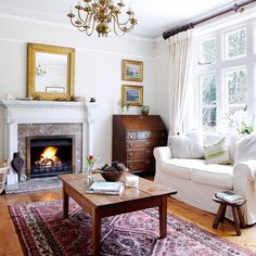 Cosy white living room   Living room decorating   Country Homes & Interiors   Housetohome.co.uk