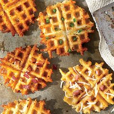 Waffled Grits | Reserve a handful of the stir-in ingredients for a colorful garnish.