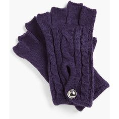 MICHAEL Michael Kors Fingerless Gloves Deep Purple One Size ($22) ❤ liked on Polyvore featuring accessories, gloves, cable knit fingerless gloves, michael michael kors, fingerless gloves and cable knit gloves