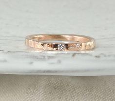 14 k Rose Gold Hochzeitsband mit Konflikt von PointNoPointStudio