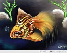 Golden fish  painter 12 – Intuos4  done in 14 hours