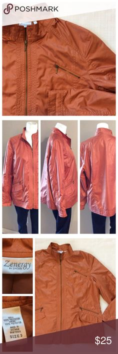 "Chico's Copper Jacket Beautiful jacket for fall!! This copper jacket has subtle embossed pattern throughout, long sleeve and fully lined. Chico's size 3 is equivalent to size 16. Measurements when laying flat: 24"" chest and 26"" length. Excellent condition. Chico's Jackets & Coats"