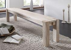 Bank der Serie NATURE WHITE aus Akazienholz, weiß lackiert. Diese Möbel schaffen eine helle und freundliche Wohnatmosphäre! #möbel #woodwork #homeinterior #interiordesign #homedecor #akazie #bank #bench #kitchen #dining #esszimmer #küche #massivmoebel24