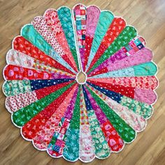 Giant Dresden Christmas Tree Skirt by Carrie Actually- dresden plate, quilting, quilted, cotton + steel