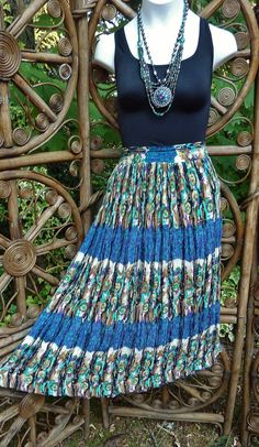 Midi length tribal broomstick skirt blue green by LamplightGifts, $15.75