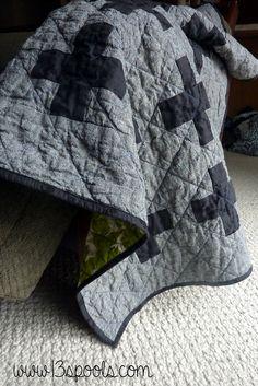 Masculine baby quilt: A modern baby quilt: Masculine Plus quilt