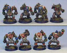 James Wappel's Blood Bowl Orks Blood Bowl Miniatures, Blood Bowl Teams, Warhammer Fantasy, Fantasy Football, Super Model, Plateau, Minis, Figurine, Bb