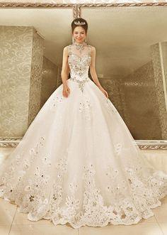 Noble col haut robe de bal autocollantes Baguettes train chapelle robe de mariée 2