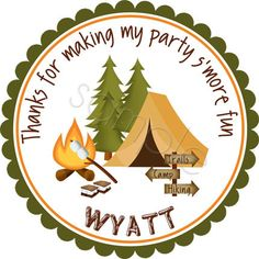 Camping Party Personalized Stickers - Birthday Stickers, Favor Labels, Party Favor, Camping Stickers, Scouting - Choice of Size. $6.00, via Etsy.