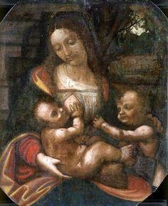 La Madone de Laroque Léonard de Vinci (ou atelier de Léonard de Vinci, sous réserve), entre 1480 et 1500 Tempura sur toile de lin sur bois Collection privée