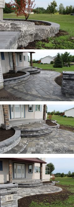 Beautiful rich front entry done by our team at Prolok Design & Build. This curved path is encompassed with a dual border. With low lying gardens on both sides of the main entrance and a pillar with a custom home number. // Products by @permaconENG
