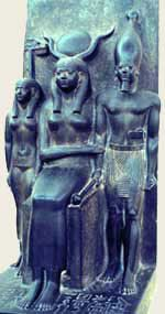 An Old Kingdom statue of the personification of the Hare Nome, Hathor and Menkaura