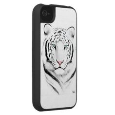 white tiger phone cover iPhone 4 case