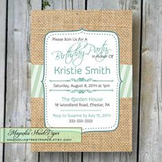 Printable Adult Birthday Invitation by magnoliastreetpaper on Etsy, $19.95